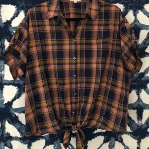 Madewell Blouse - Plaid tie-front